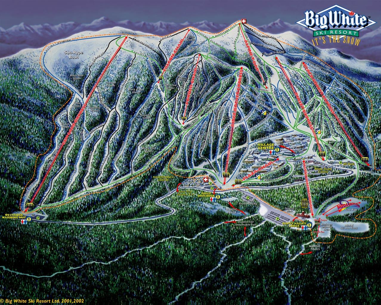 Carte des pistes de la station de ski Big White