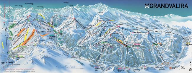 Plan des pistes Val Nord Andorre