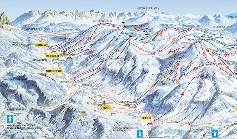 Carte des pistes de la station de ski de Soll