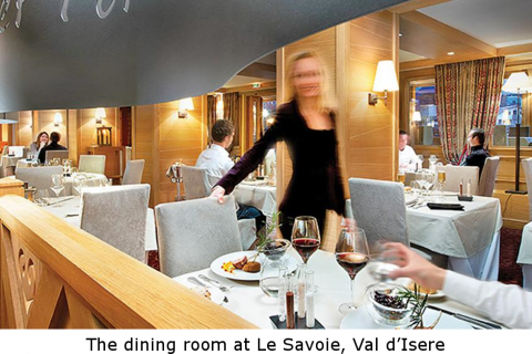 The dining room at Le Savoie, Val d'Isere