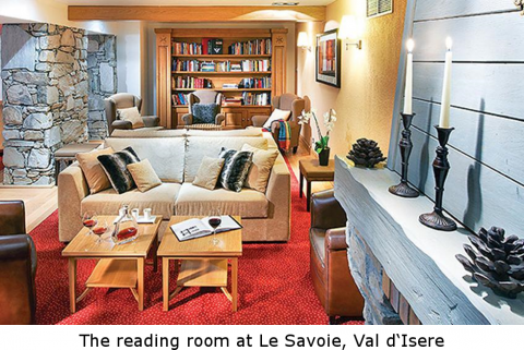 The reading room at Le Savoie, Val d'Isere