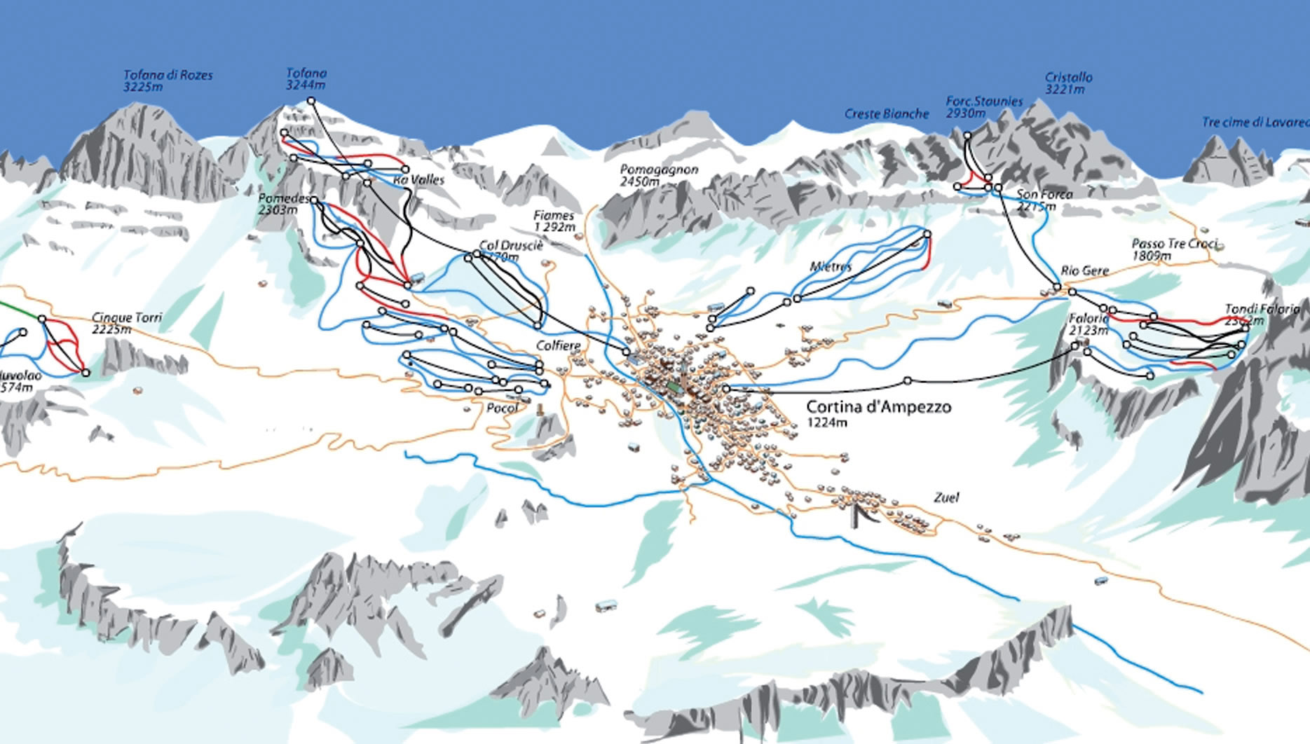 Cortina Ski Resort Piste Map