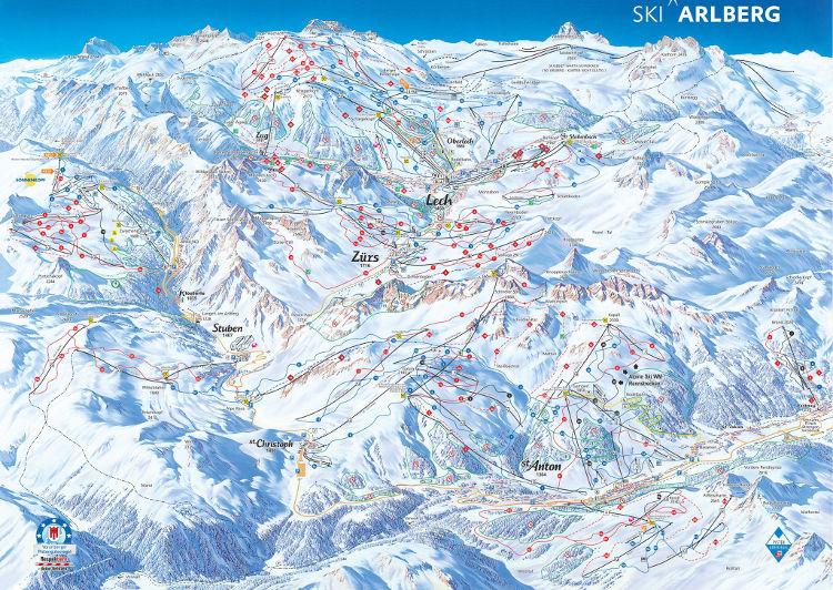 Arlberg Ski Area - Piste Map