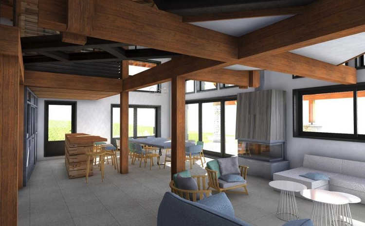 The dining and lounge areas will have a feeling of space and mountain views from all the window.
