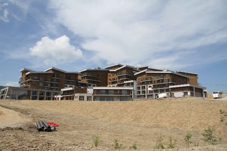 Landscaping at the new Club Med hotel in Samoens is nearly completed, the planting has just started.