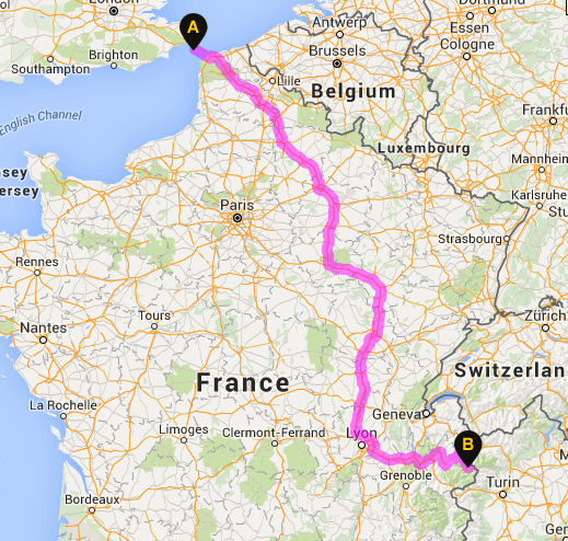 It's around 630 miles drive to the most popular ski resorts from Calais and takes around 9.5 hour's drive time