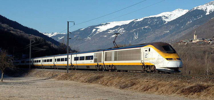 The ski Eurostar train just outside Bourge St Maurice.