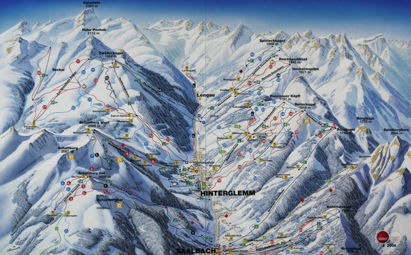 Hinterglemm & Fieberbrunn Ski Resort Piste Map