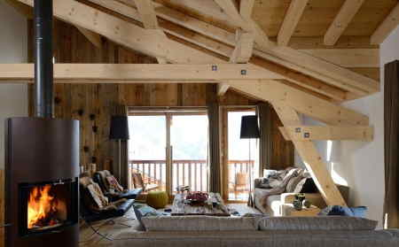 The lounge in independently run catered ski chalet Chamois Lodge in St Martin de Belleville, France.