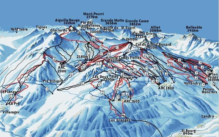 Piste Map Les Arcs Les Arcs Ski Resort | Les Arcs Guide | Ski Line ®