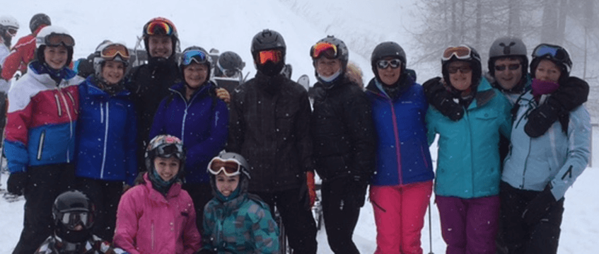 A mixed ability ski group