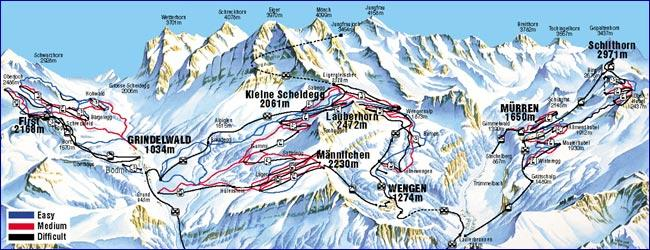 Murren Ski Resort Piste Map