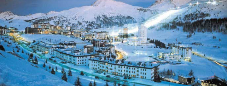 View at night across the Italian ski resort of Sestriere