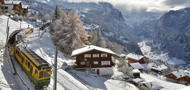Train rides around Grindelwald are more pleasant than taking a ski lift