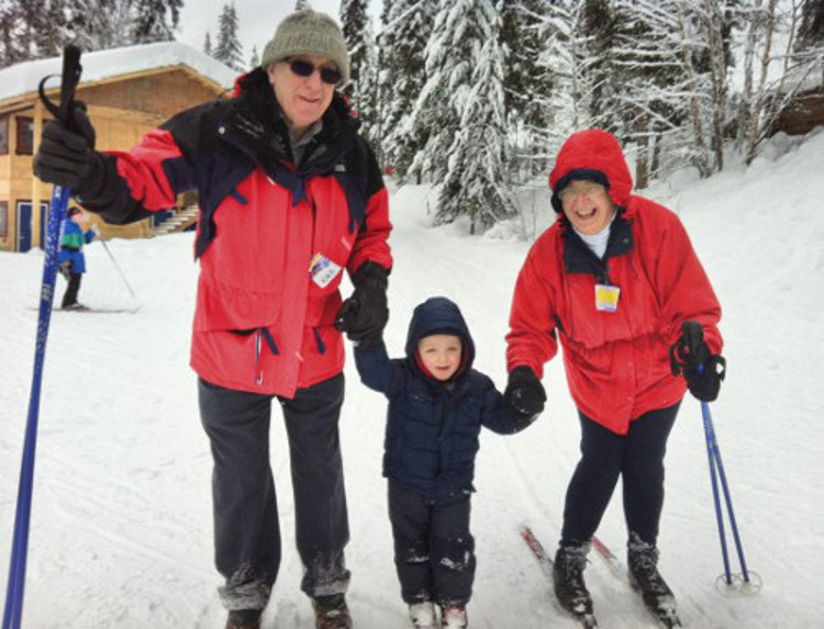 There is no age barrier to a skiing holiday for grandparent's