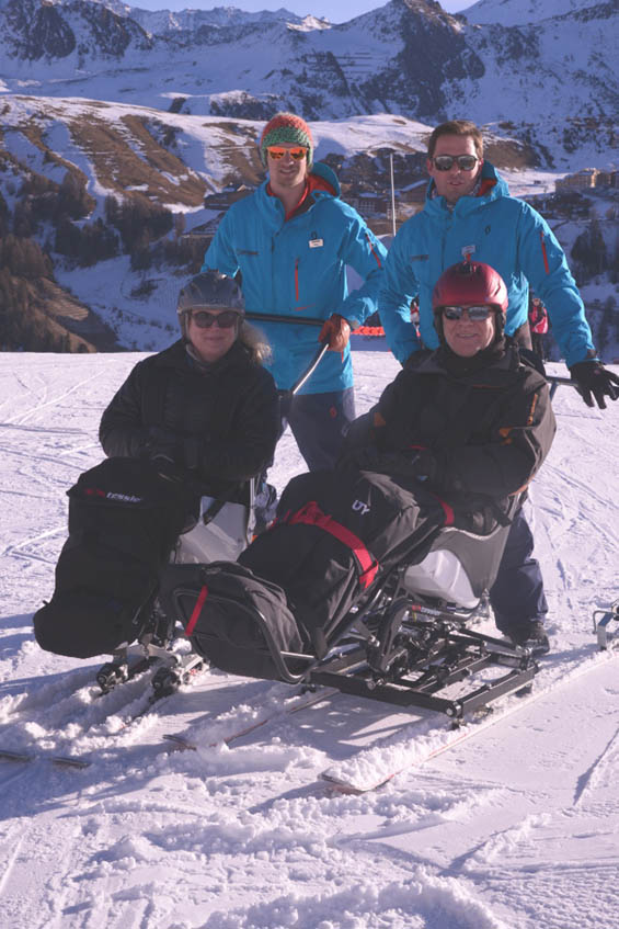 Sarah and Angus testing out the ski taxi service in La Plagne
