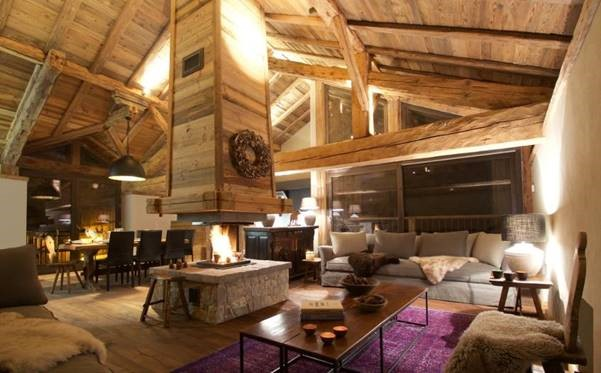 """Chalet Ecurie lounge area which won """"Best new ski chalet in the 2016 Snow Awards"""