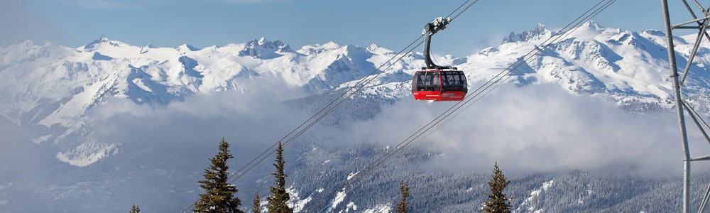 The Twin Peaks cable car links Blackcomb to Whistler mountain