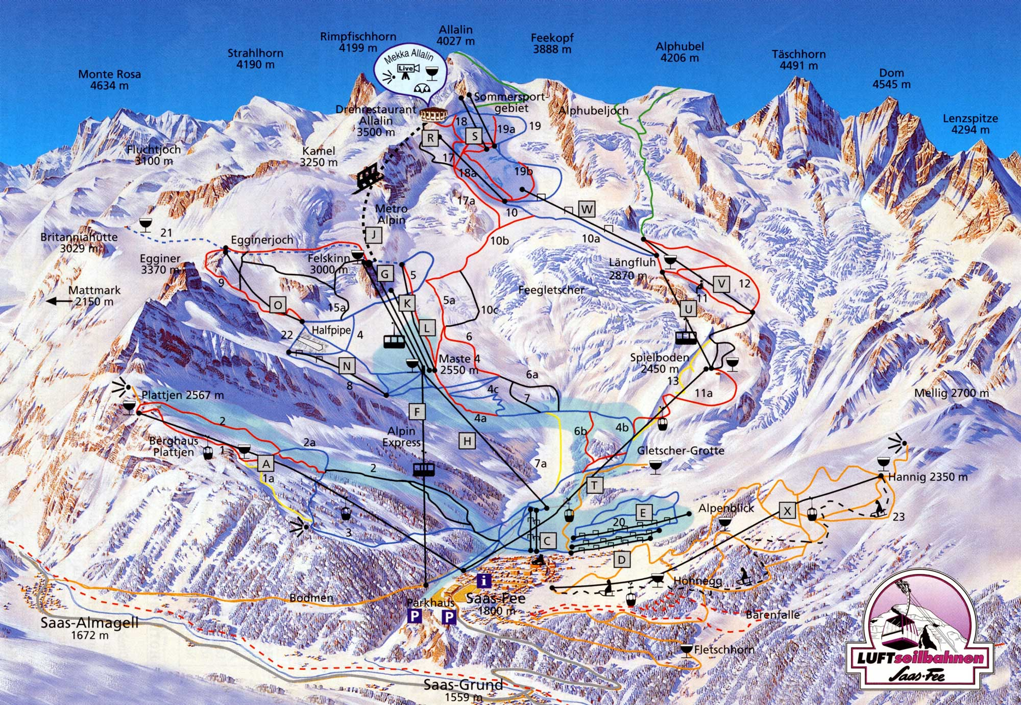 Saas Fee Ski Resort Piste Map