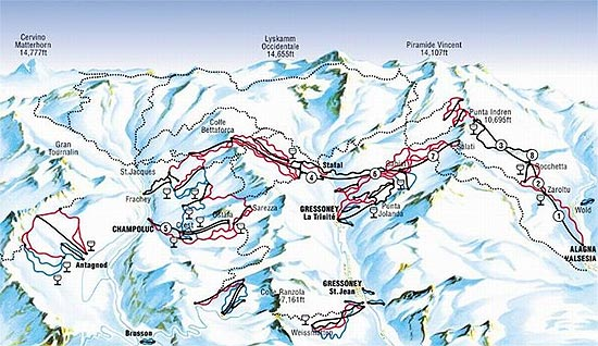 Gressoney Ski Resort Piste Map