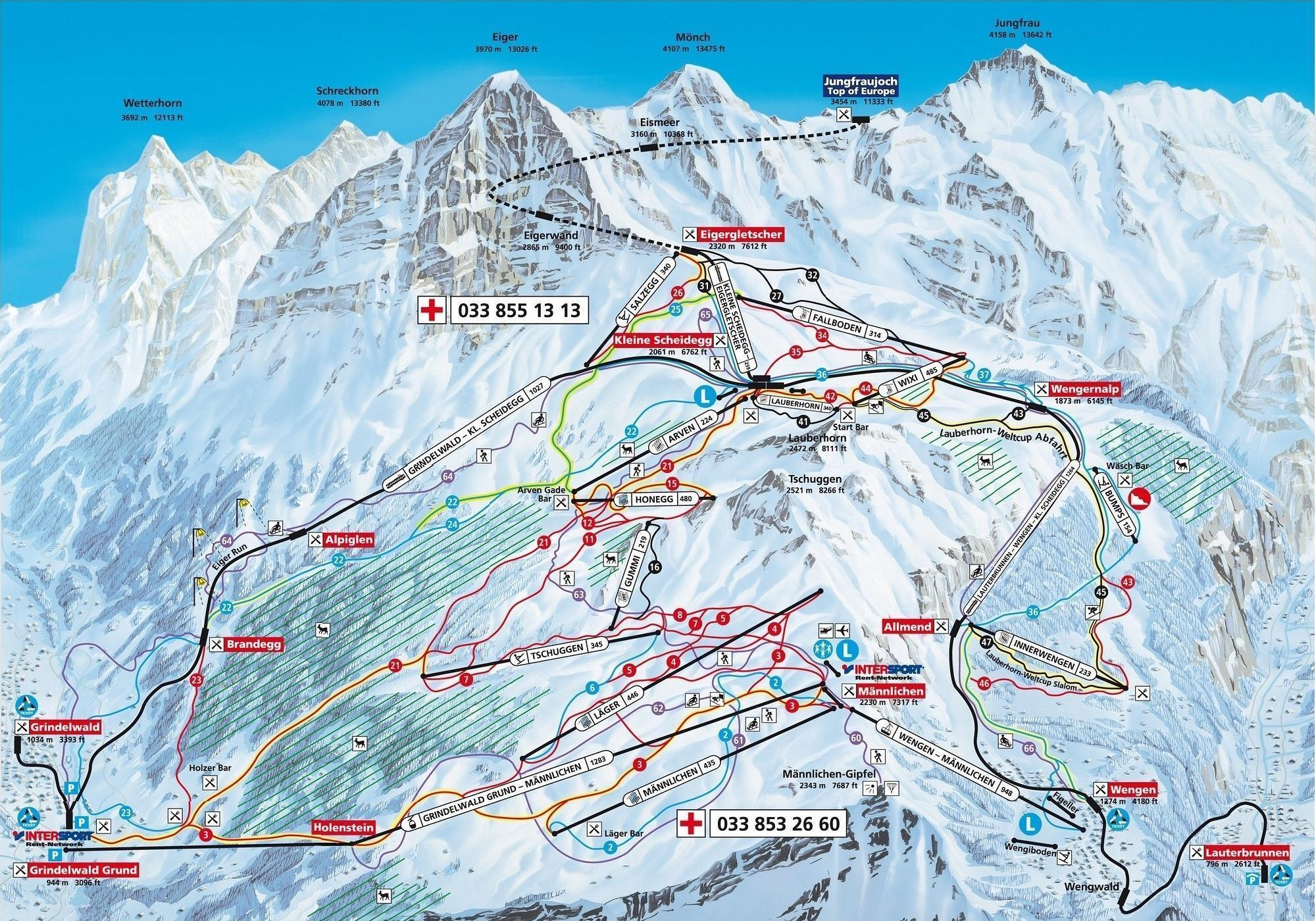 Wengen Ski Resort Piste Map