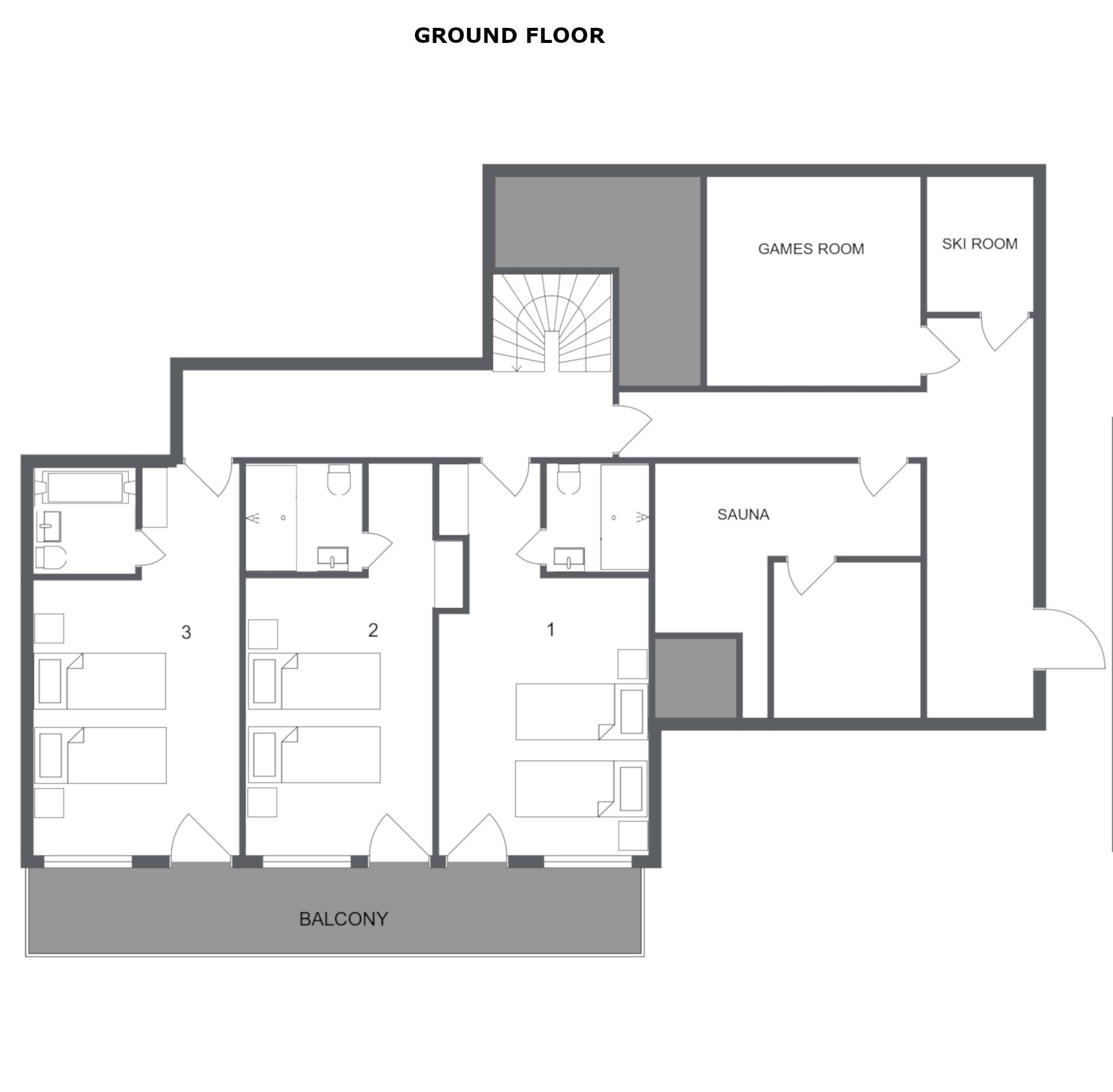 Chalet Chardon Meribel Floor Plan 1