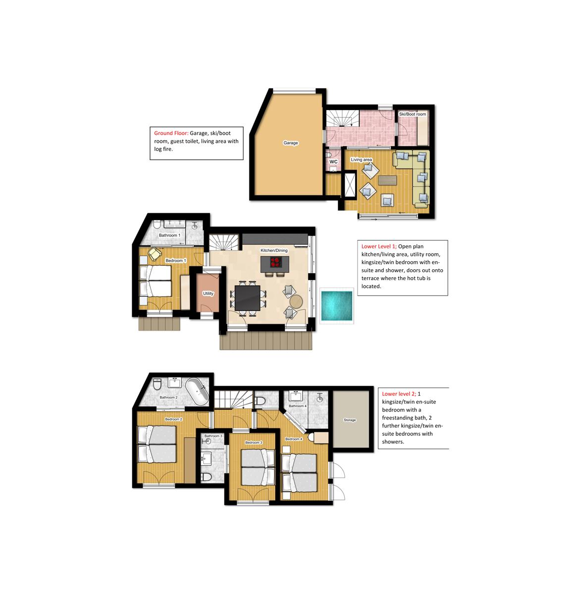 Chalet Caro Meribel Floor Plan 1