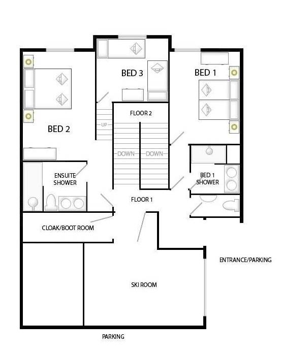 Chalet Patineur Tignes Floor Plan 1