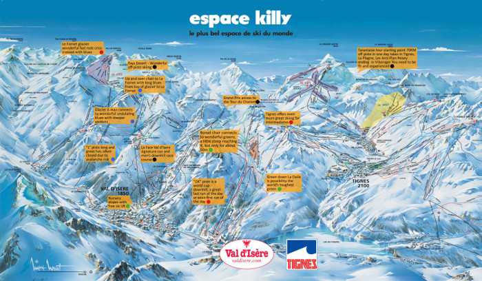Piste map of Tignes and Val d'Isere