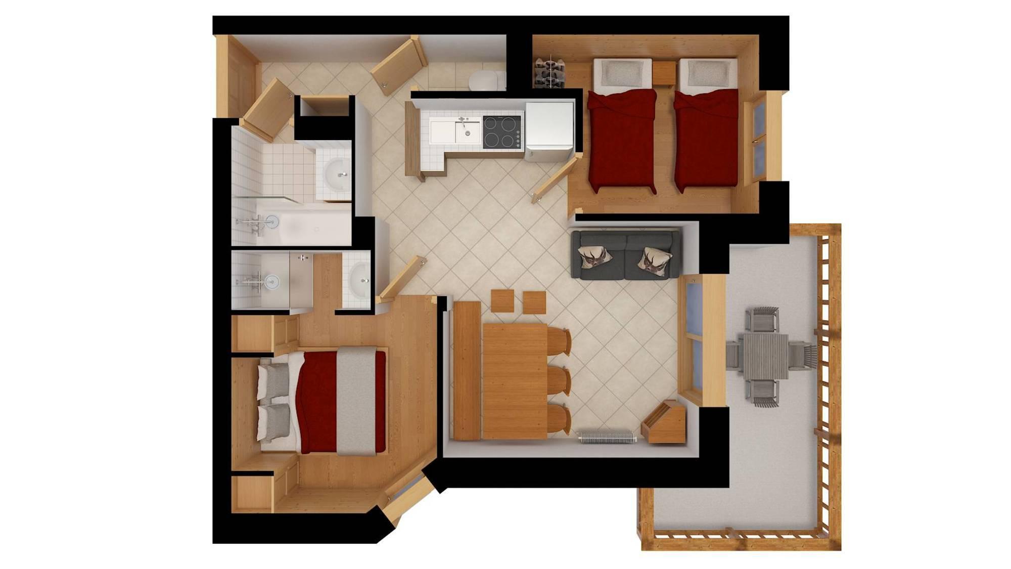 Apartment Ferme A106 Meribel Floor Plan 1
