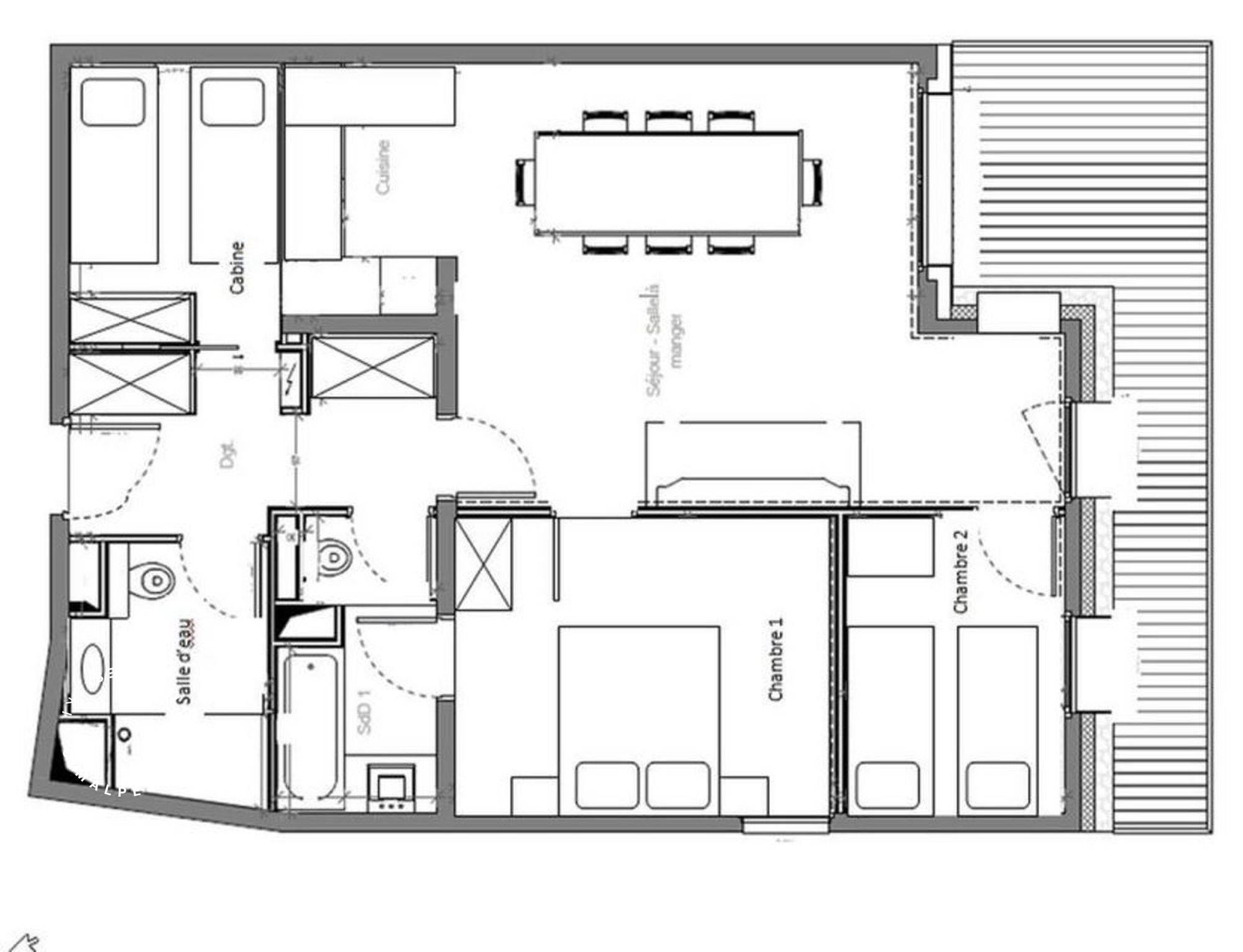 Apartment La Suite 102 Meribel Floor Plan 1