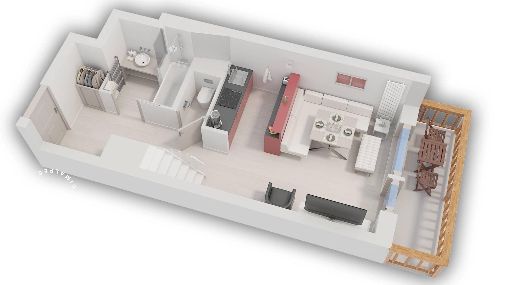 Apartment Pierre et Vacances 209 Val d'Isere Floor Plan 1