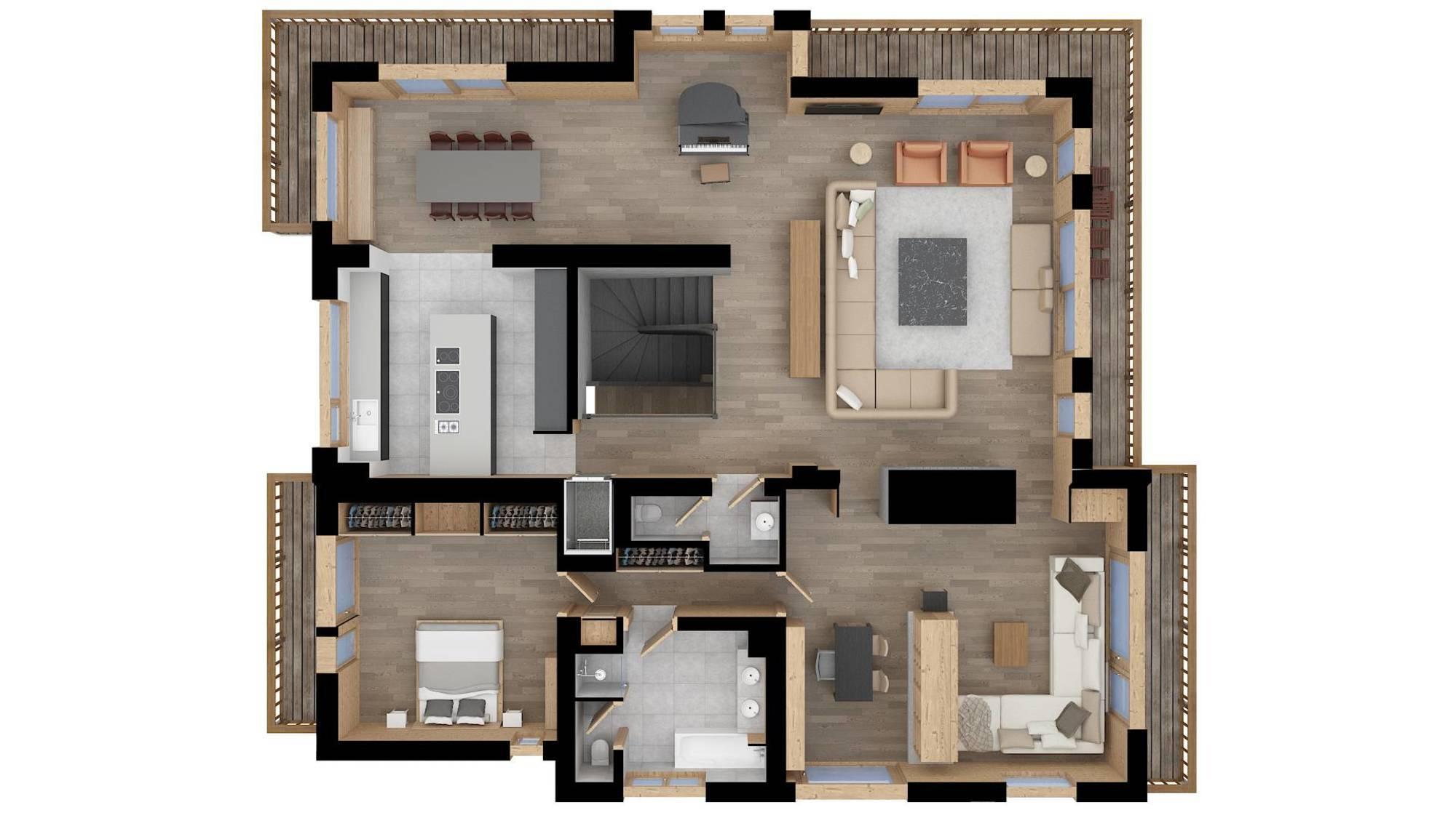 Chalet Des Sens Megeve Floor Plan 1
