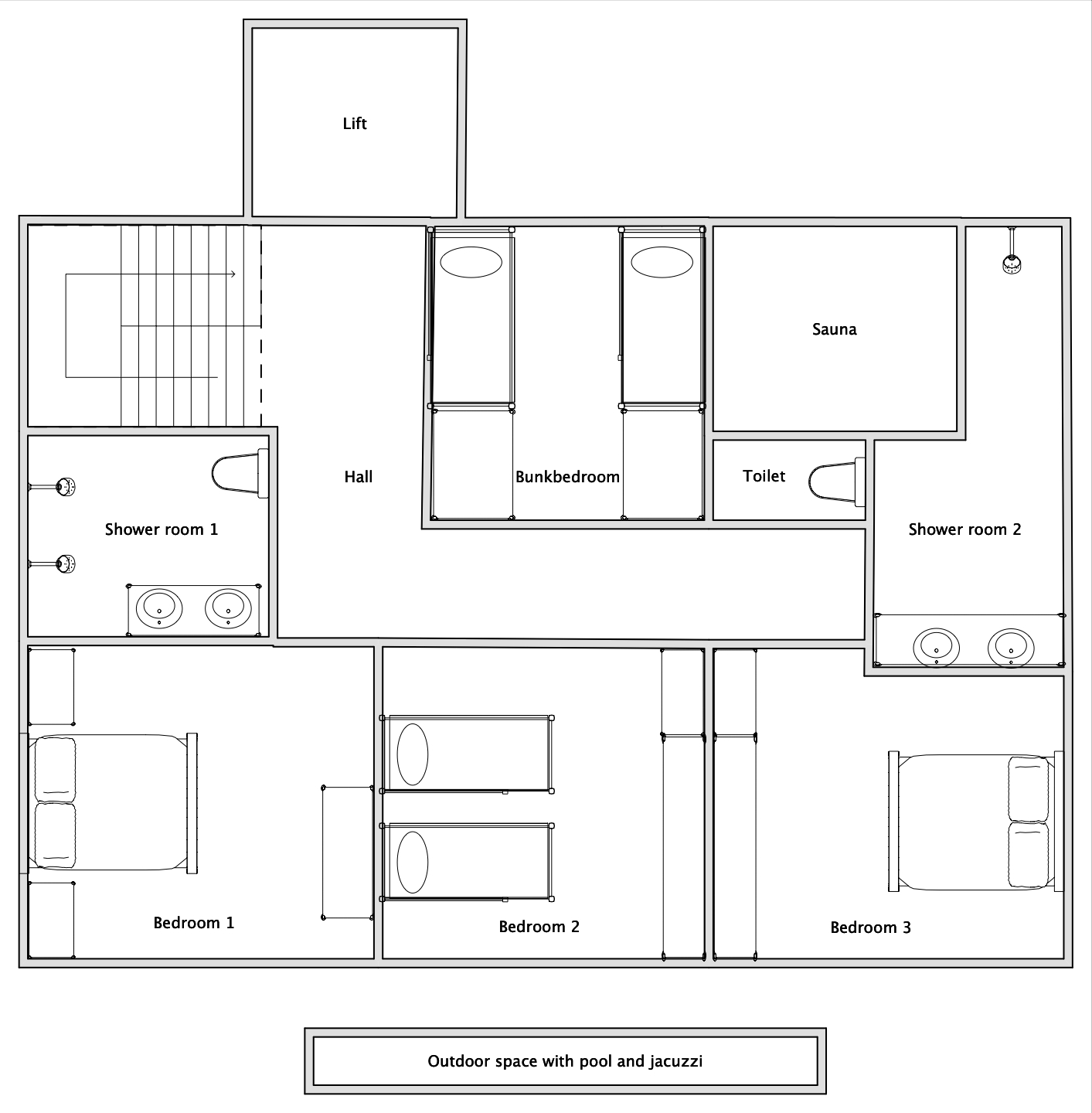 Chalet V (Self-Catered) Verbier Floor Plan 1