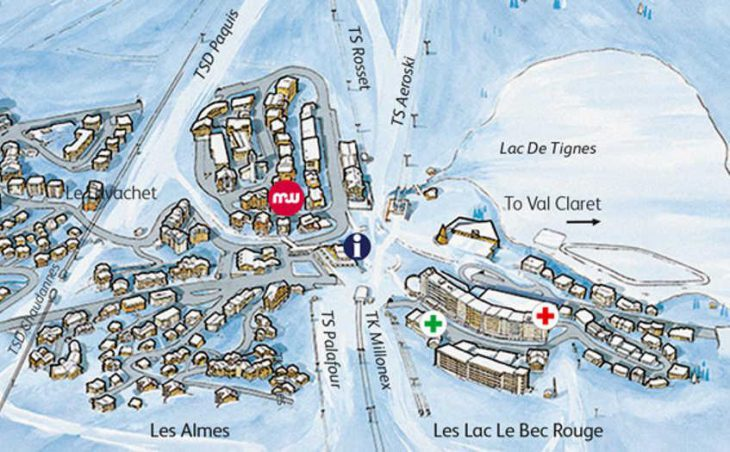 Chalet Hotel Aiguille Percee, Tignes, Map