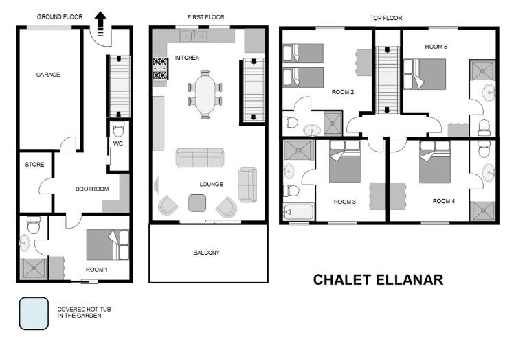 Chalet N.62 Ellanar Courchevel Floor Plan 1