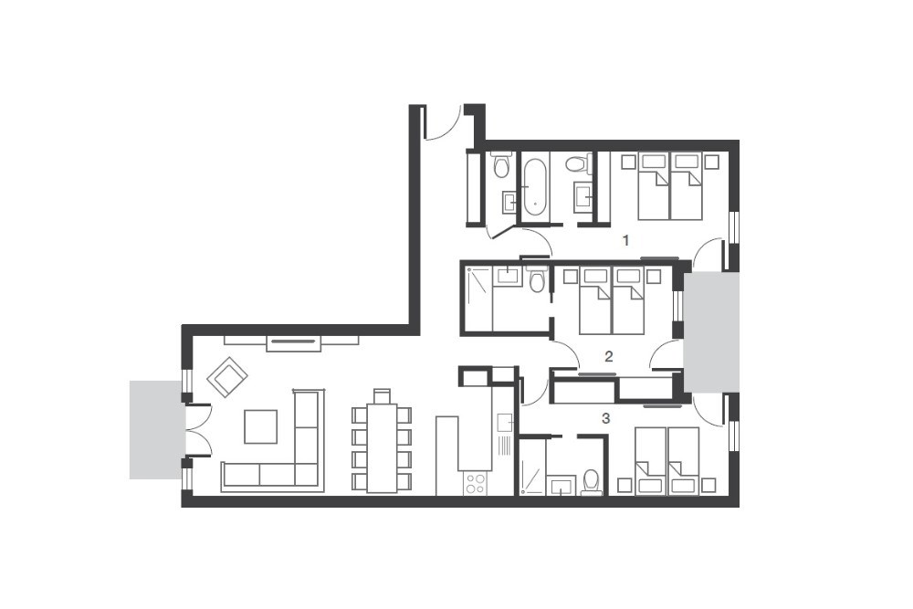 No.5 Aspen House Val d'Isere Floor Plan 1