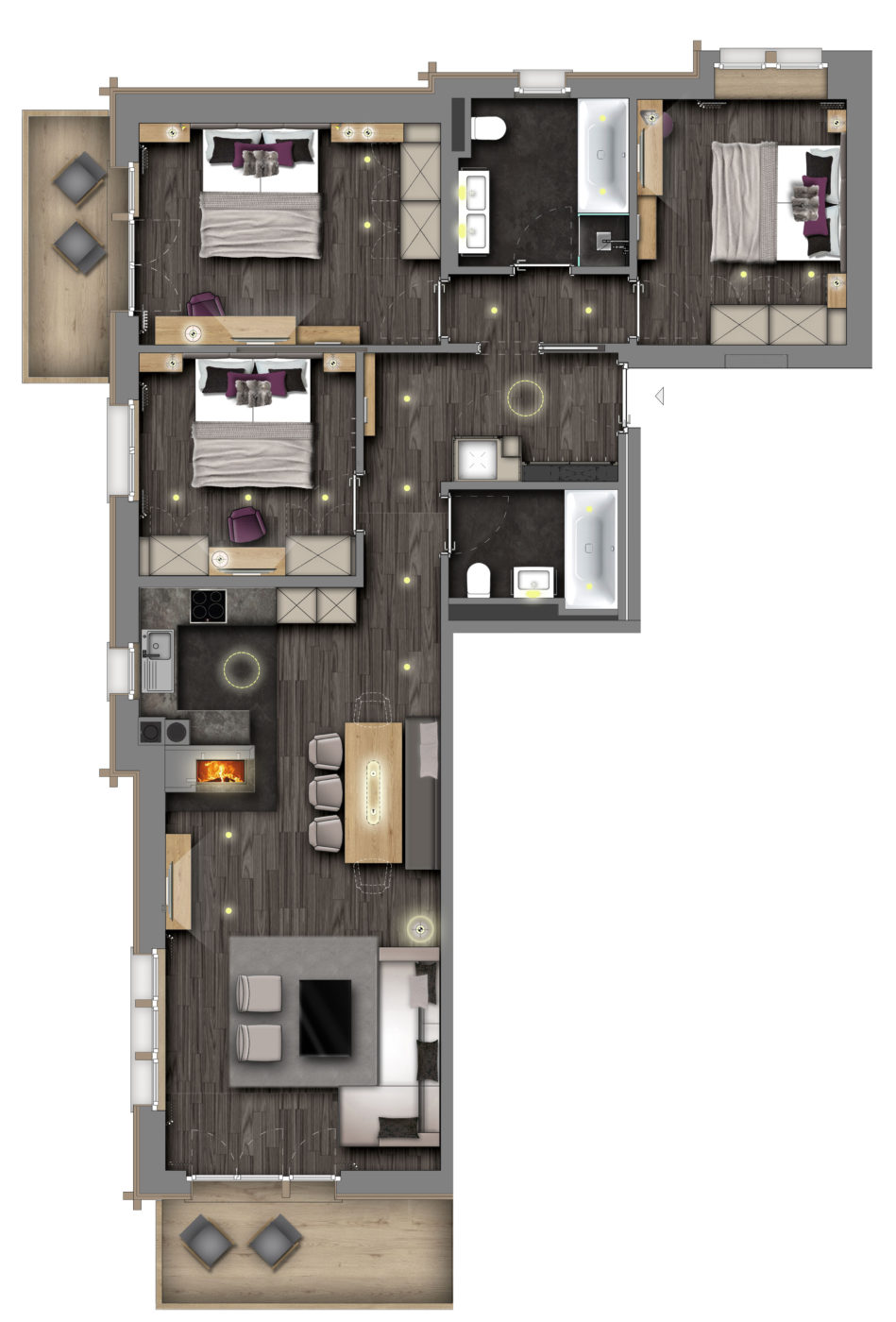 Christiania Apartment 3 Zermatt Floor Plan 1