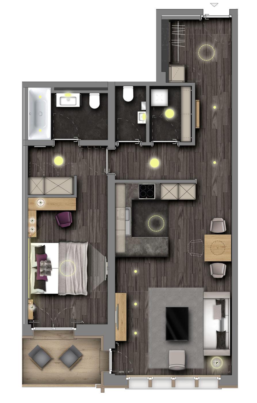Christiania Apartment 4 Zermatt Floor Plan 1