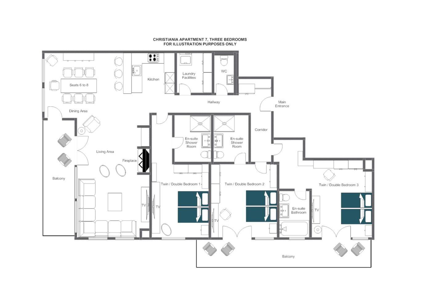 Christiania Apartment 7 Zermatt Floor Plan 1