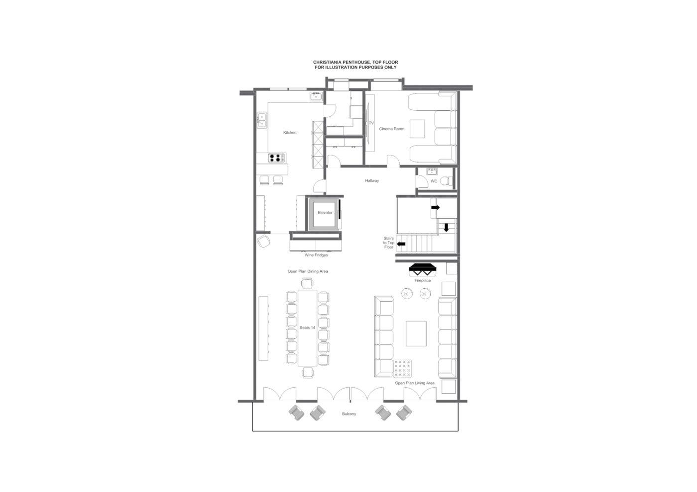 Christiania Penthouse Zermatt Floor Plan 1